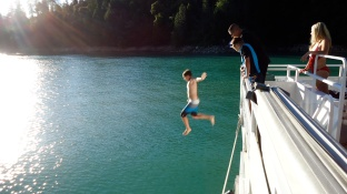 Daytime requirement: Jumping off the side of the boat!