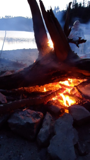 Since we were docked on a beach in an alcove there were nightly bon fires!