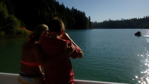 Mother son wakeboard watching