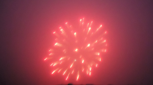 Fireworks in the coastal mist