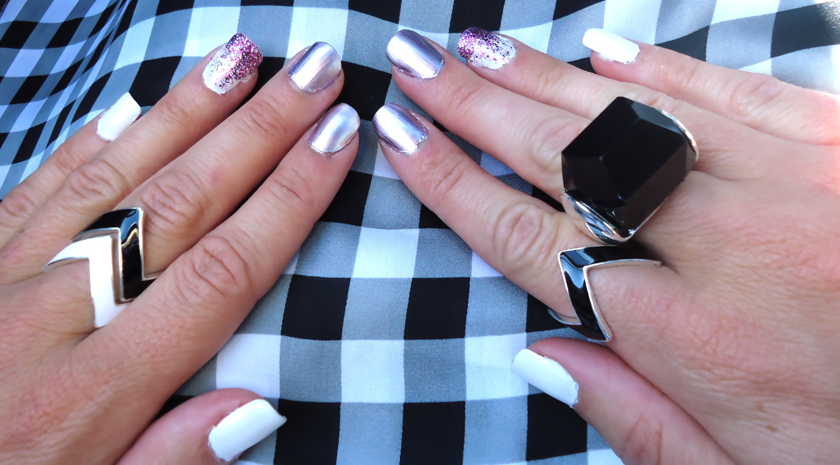 Mixed Media Mani:  White, Purple, Glitter & Metallics!