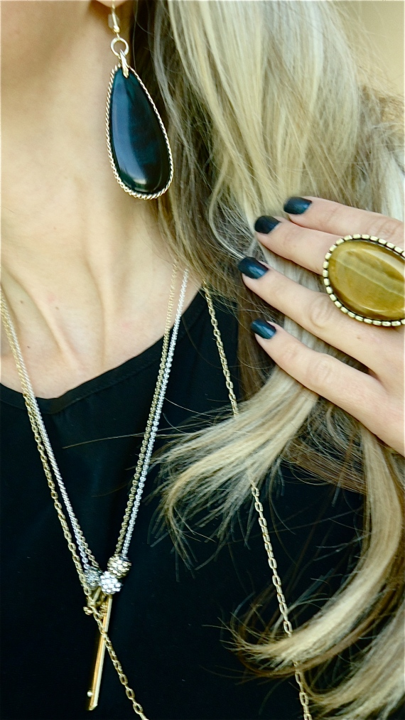Green Piece Earrings and Perfect Stretch Ring