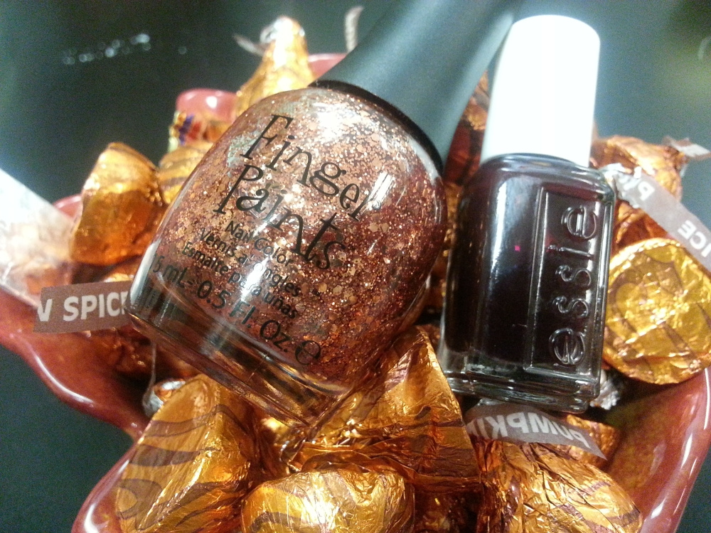 Oktoberfest Polish - Finger Paints Fall of Surprises and Essie Skirting The Issue