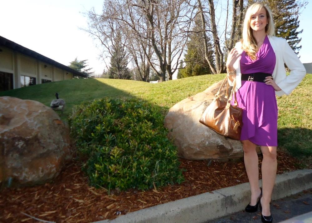 White On Blazer and Violet Vibe Dress