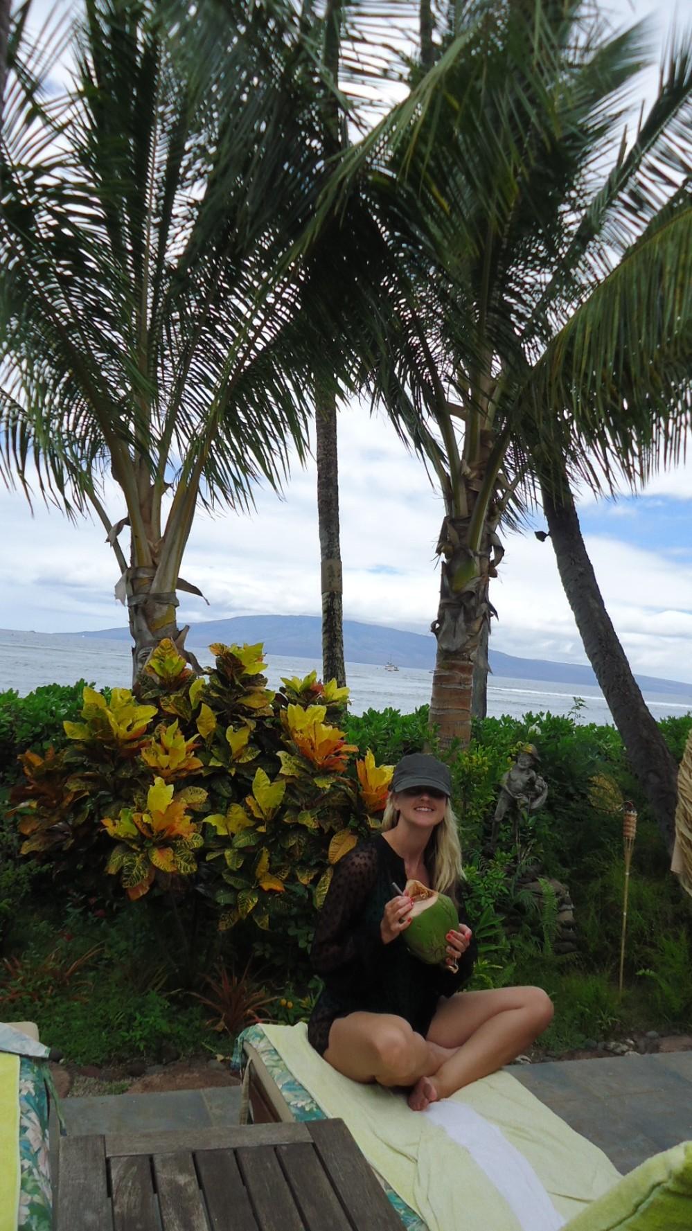Enjoying a Coconut Treat in Maui