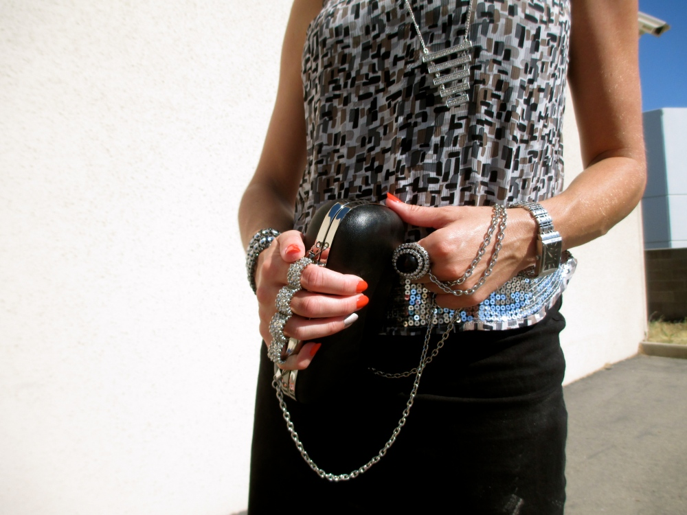 mark. Case Of Glam Clutch, Hot Mix Blouse and Dropping By Necklace