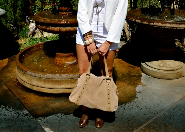 mark. Taupe Of The Line Bag With A mark. Arm Party