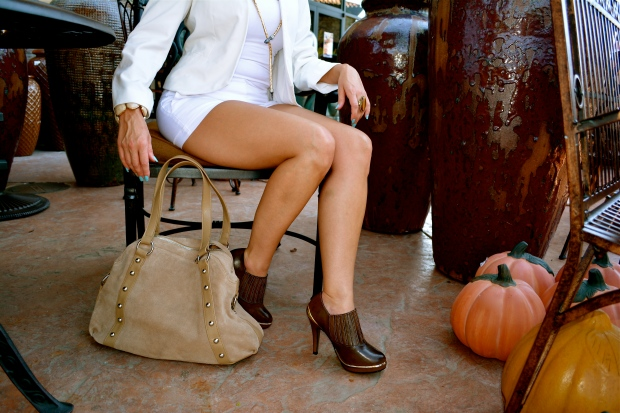 mark. Tough Luxe Booties and Taupe In Line Bag
