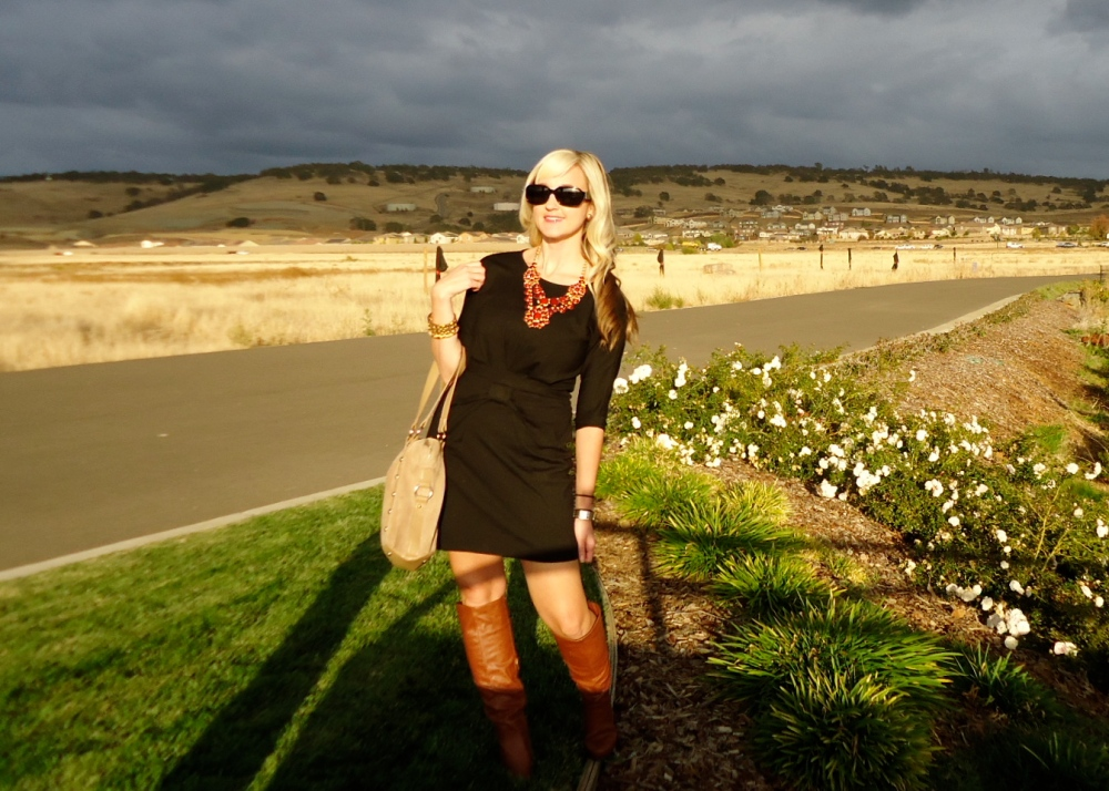 Fall-tastic in mark. Style Goddess Necklace, Taupe The Line Bag and Shoedazzle Boots