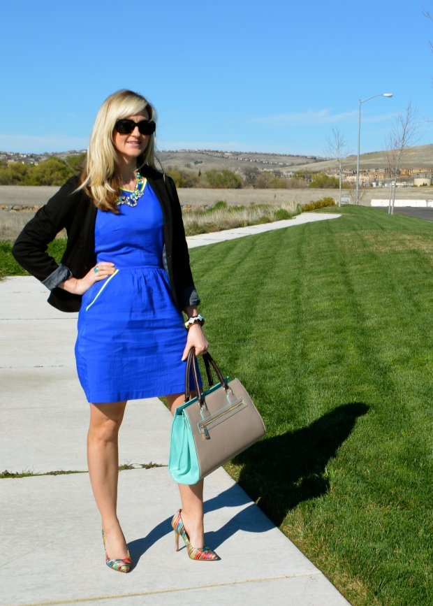 Wearing mark. Royal Pretty Dress, Major Mix Necklace, Wow Factor Earrings, Properly Chic Satchel and Borrowed From The Boys Blazer