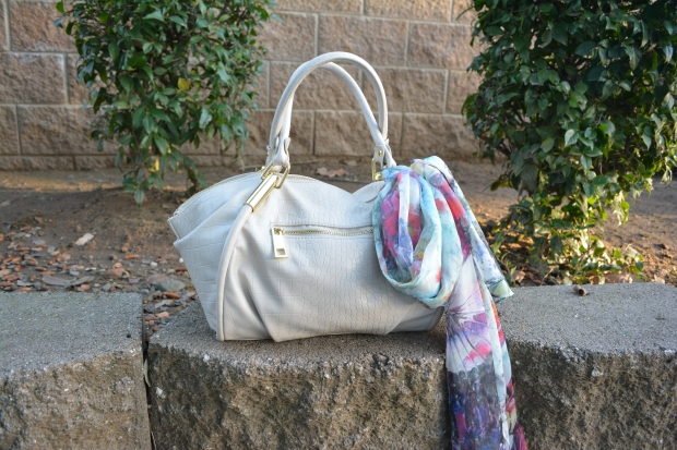 mark. Fawn Over Flora Scarf Tied on the mark. Classic Hit Handbag