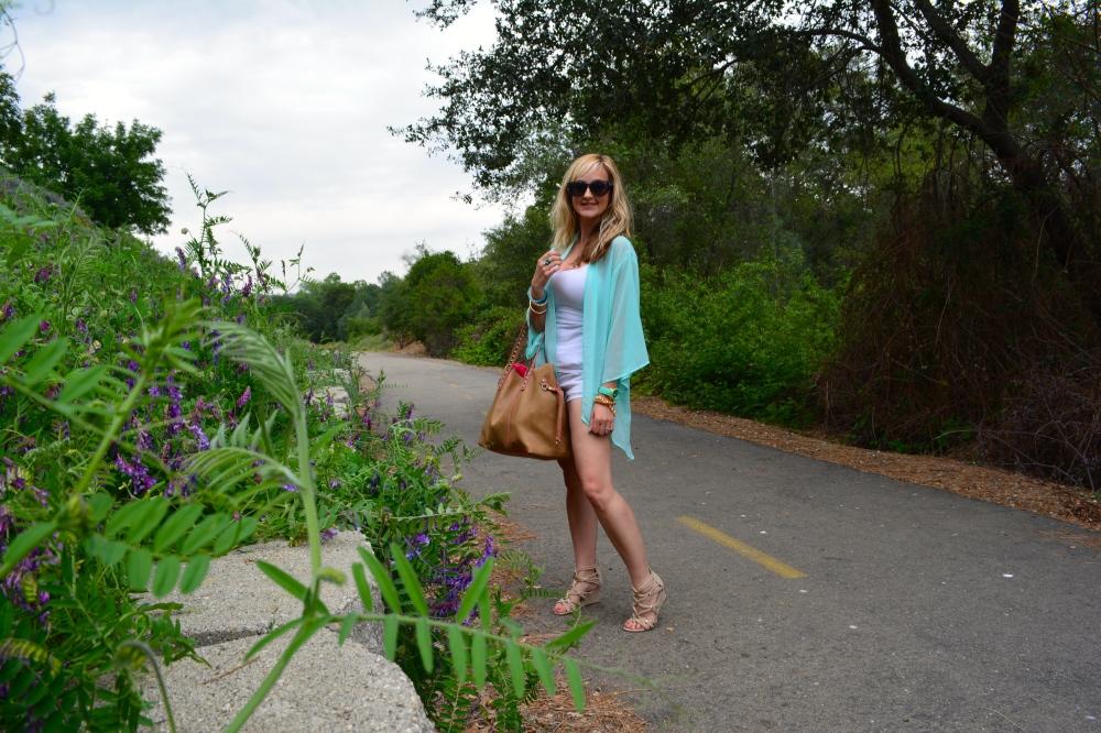 White Shorts, Tank, Kimono and Wedges