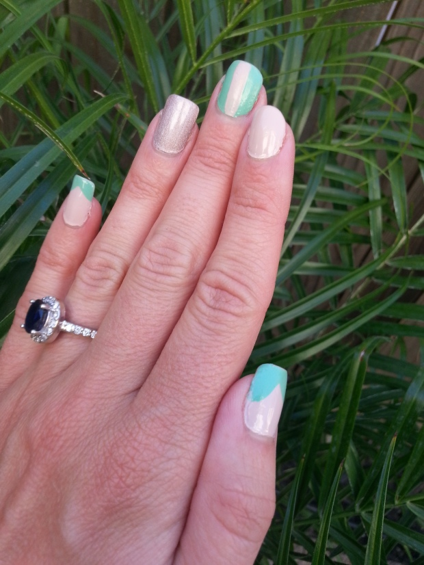Turquoise and Nude Mani with mark. Seafoam, Avon Barefoot Beige and Julep Ginger
