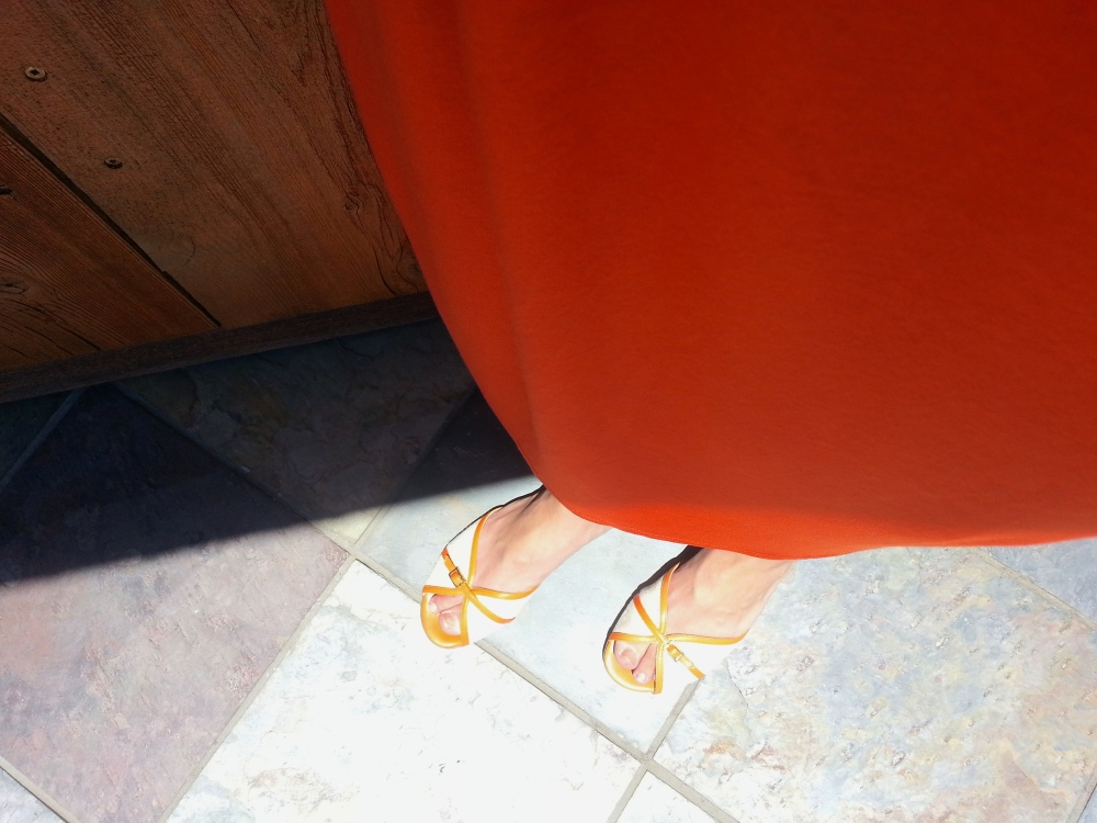 Brooks Brothers Orange and Linen Flats