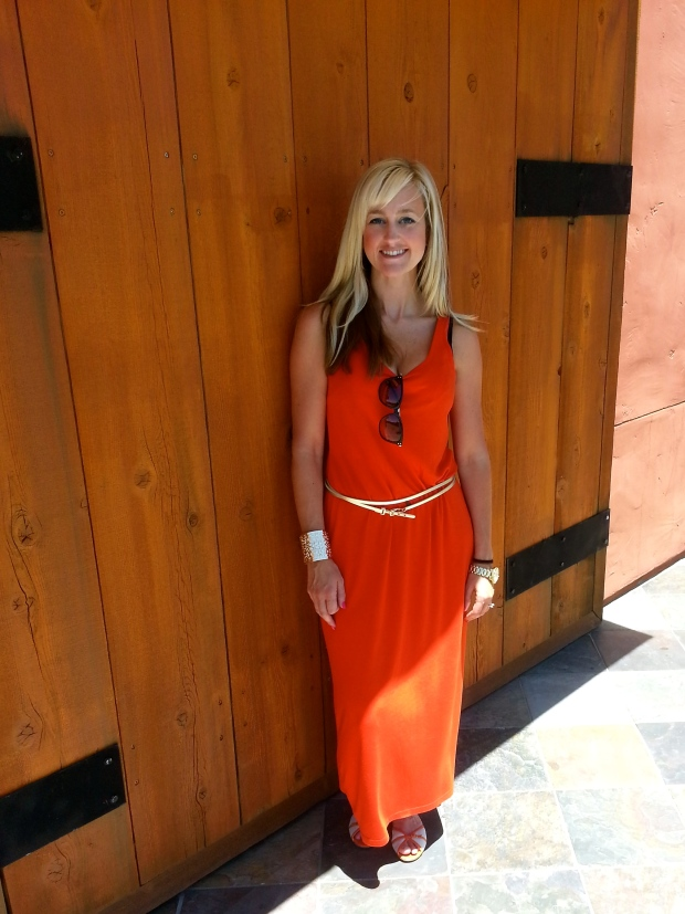 Summer Orange Maxi With Flats and Gold Accents