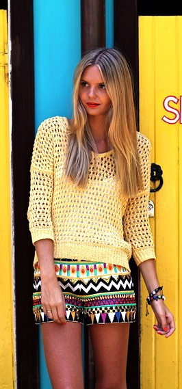 Aztec Shorts and Open Stitch Sweater