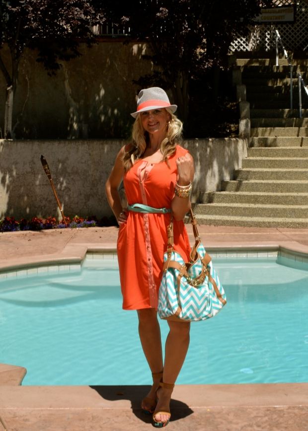 mark. Coral Kiss Dress complete with coral fedora!