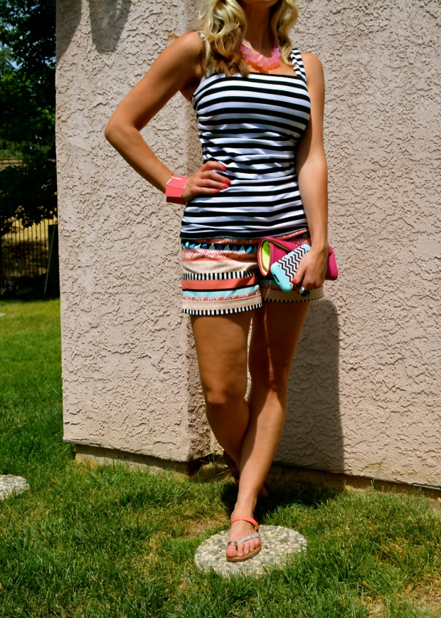 Mixing Prints:  Aztec and B&W Stripes