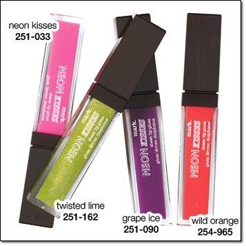 mark. Neon Glaze Eyeshadows and Neon Kisses Lipgloss