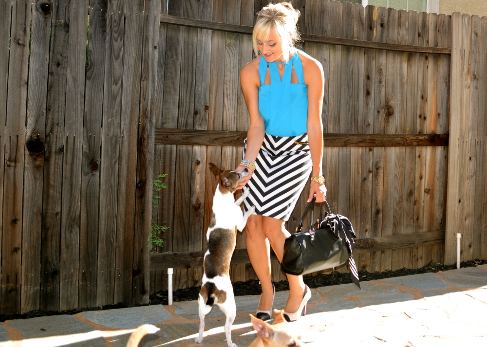 Total Look with mark. Styling Trapeze Blouse and PUPPIES!