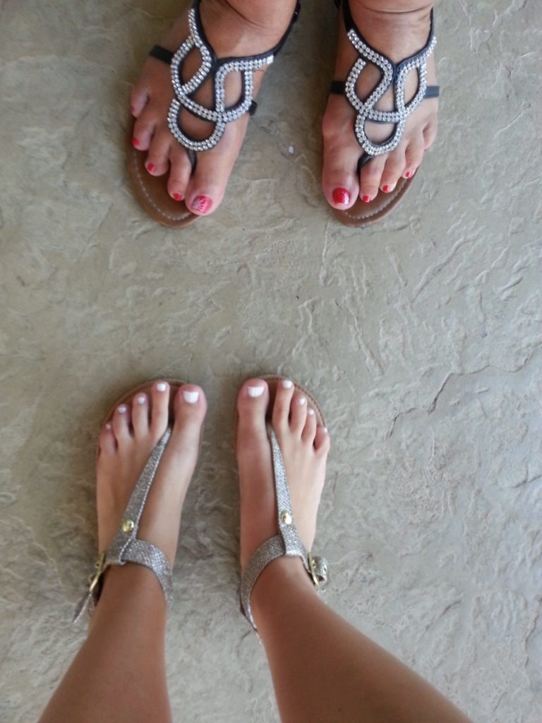 Pedi in She Said Yes on me and Coca Cola Red by OPI on mom!