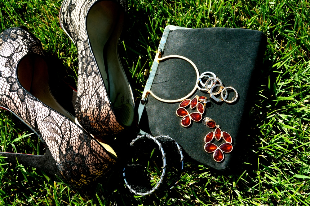 Lacey Accents and Avon Scarlet Chandelier Earrings