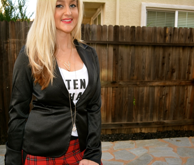 Satin Blazer Dresses Up Plaid Pants And A Graphic Tee