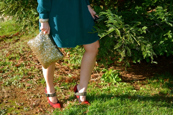 Sequin Gold Clutch and Red Plaid Pumps!