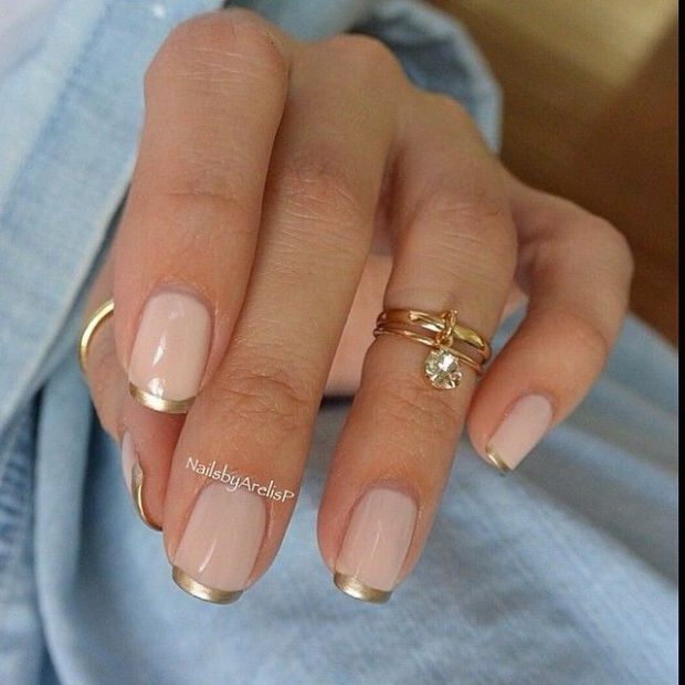 Nude with Skinny Gold Tips