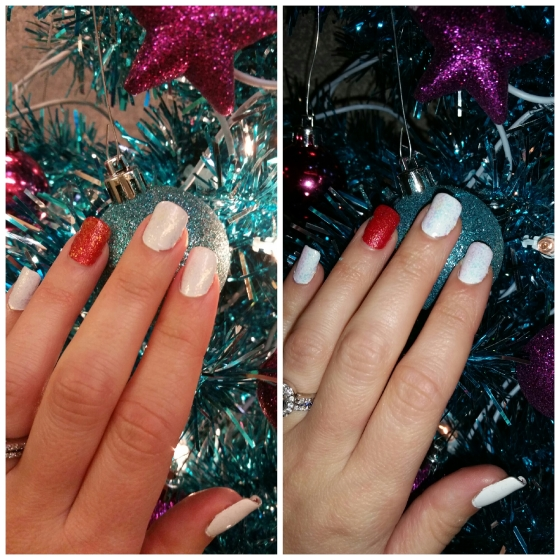 Glistening Snowy Nails with Avon Iceberg White and Essie LuxeEffects in Shine Of The Times (with and w/o flash)