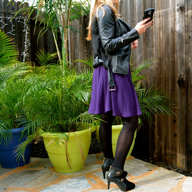 All about the booties, black tights and a black jacket!