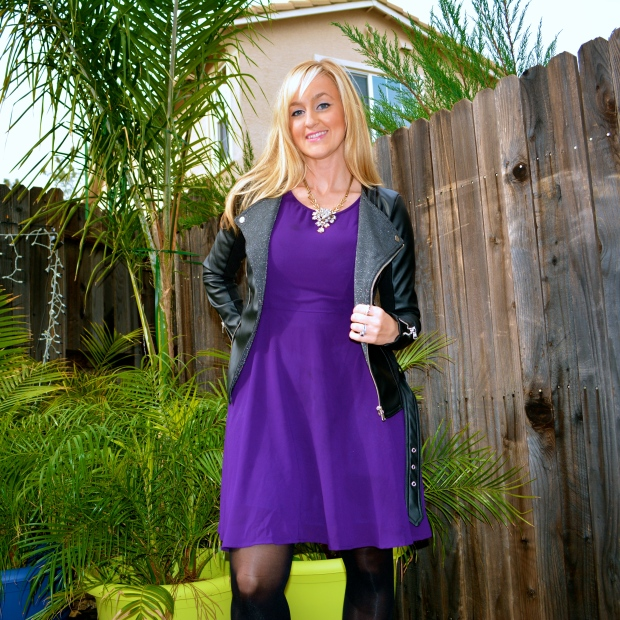 Girly Dress + Leather Jacket = Date Night Outfit