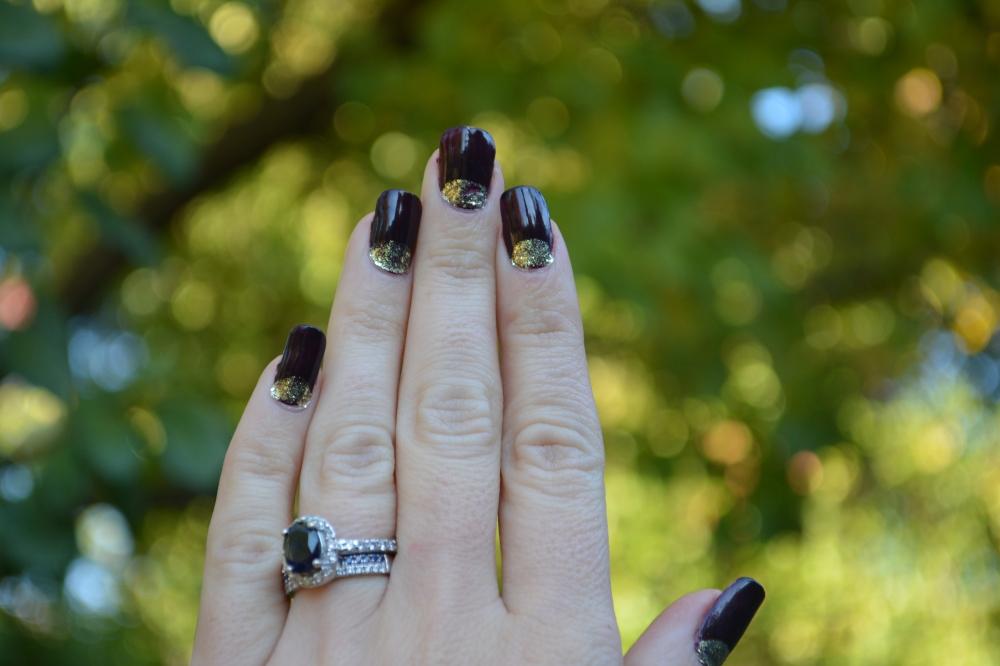 Half Moon Gold Glitter over Deep Dark Purple