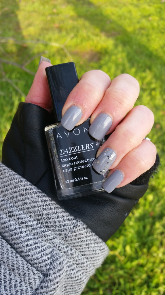 Avon Dazzlers Top Coat over Essie Cocktail Bling
