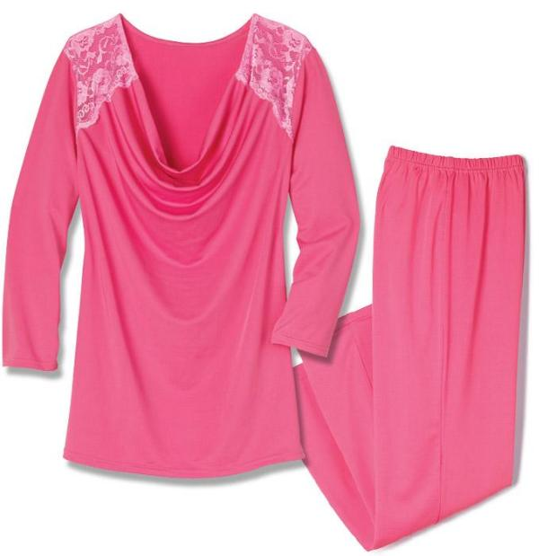 Avon Lace Drape Neck PJ Set