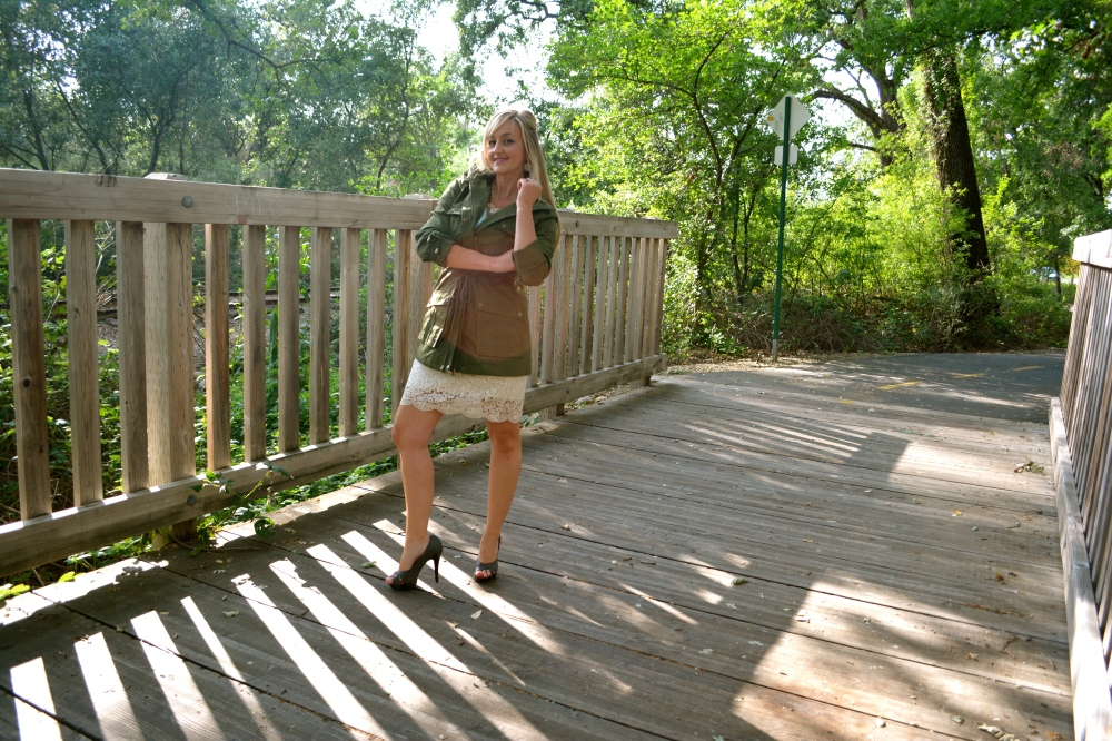 Wearing mark. Luck Of The Drawstring Anorak With A Lace Pencil Skirt