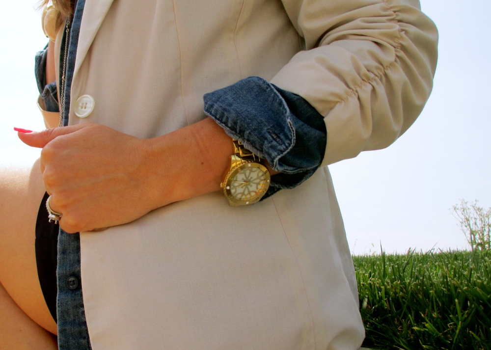 Spring Blazer Layered With Chambray