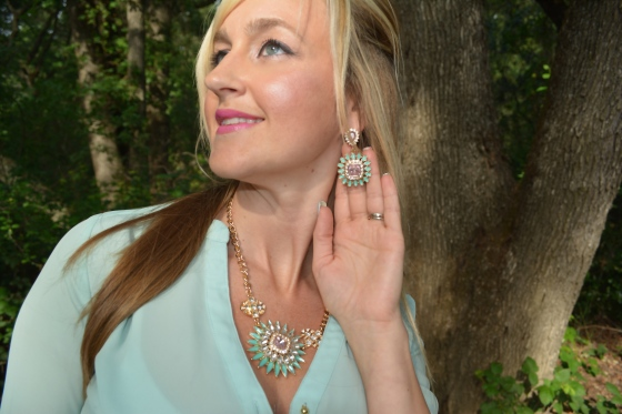 Avon Fancy Flora Collection Earrings and Statement Necklace