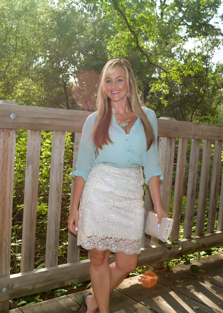 A lace pencil skirt is perfect for a spring work look.