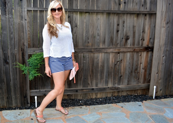 Summer Go-To Look:  Nautical Shorts and Beach Sweater!