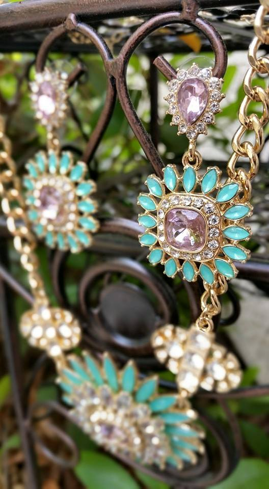The perfect pop of spring color, Avon Fancy Flora Collection Earrings and Statement Necklace
