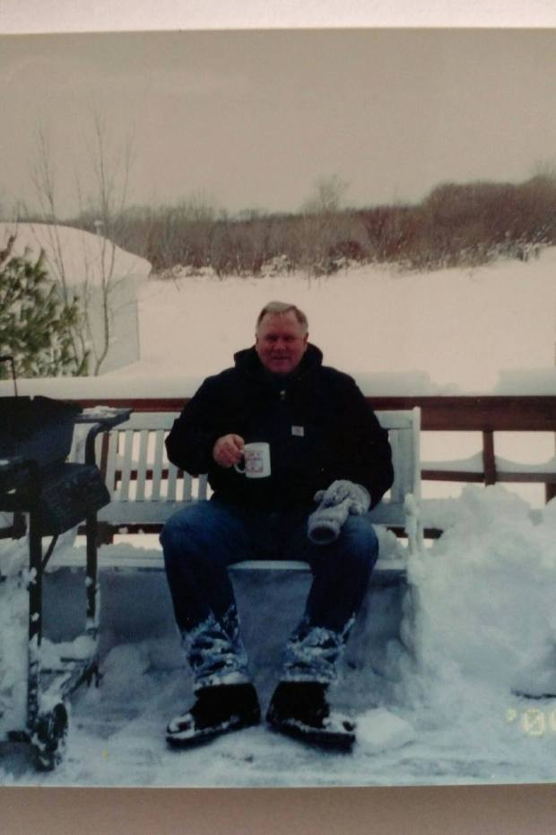 Dad in his manly glory for a coffee break from plowing.