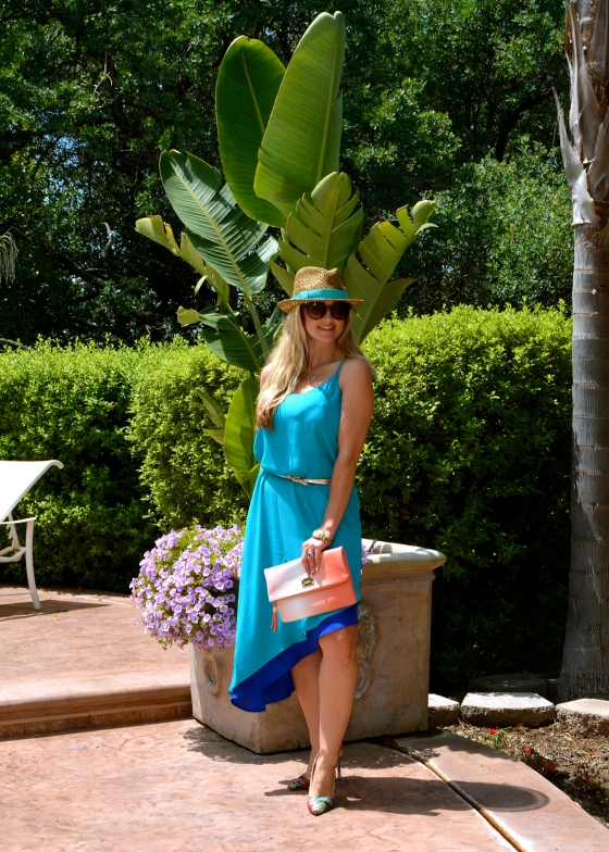 Ombre Clutch and Two-Tone Slip Dress