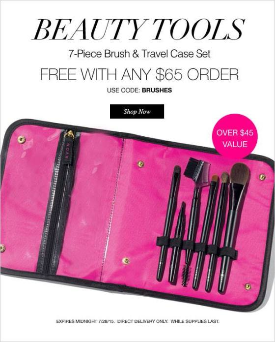 July 28 - One Day Only!  7 pc. Makeup Brushes and Case with any $65+ order. Use Code: BRUSHES