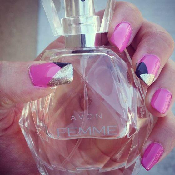 #mynailsandmyperfume Featuring Avon Femme, Essie Forget Me Nots, Julep Sienna and Avon Gel Finish