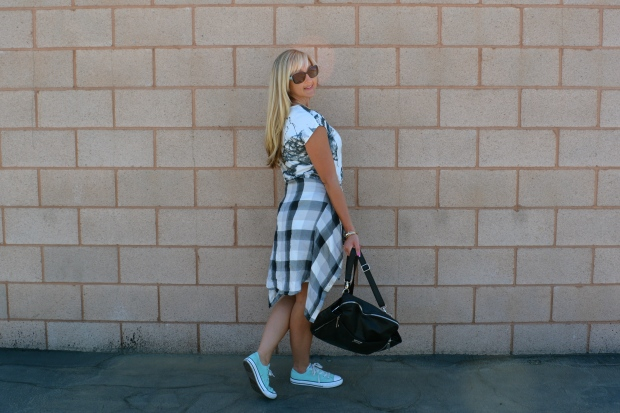Layer Up With A Plaid Shirt Over Your T-Shirt Dress