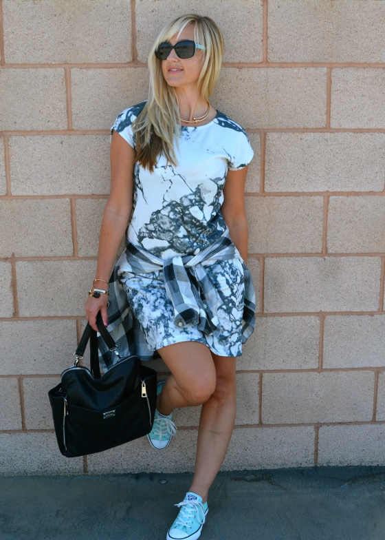 Back To School Look With A T-Shirt Dress, Plaid Shirt Layered, and a Functional Back Pack