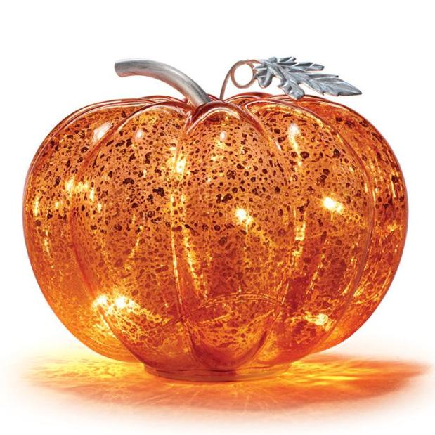 Mercury Glass Pumpkin with LED Lights