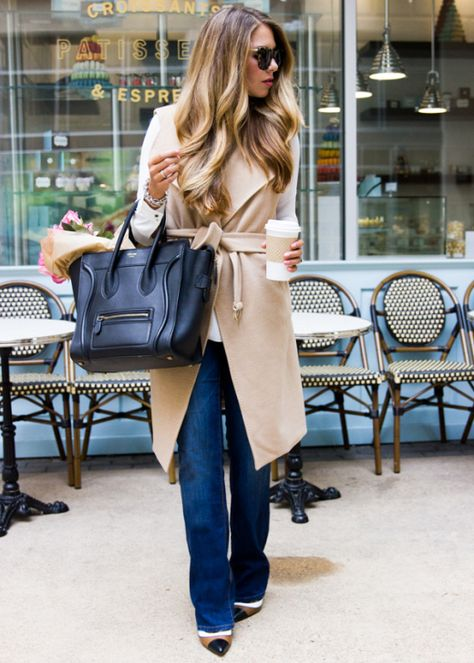 Camel Sleeveless Trench Vest