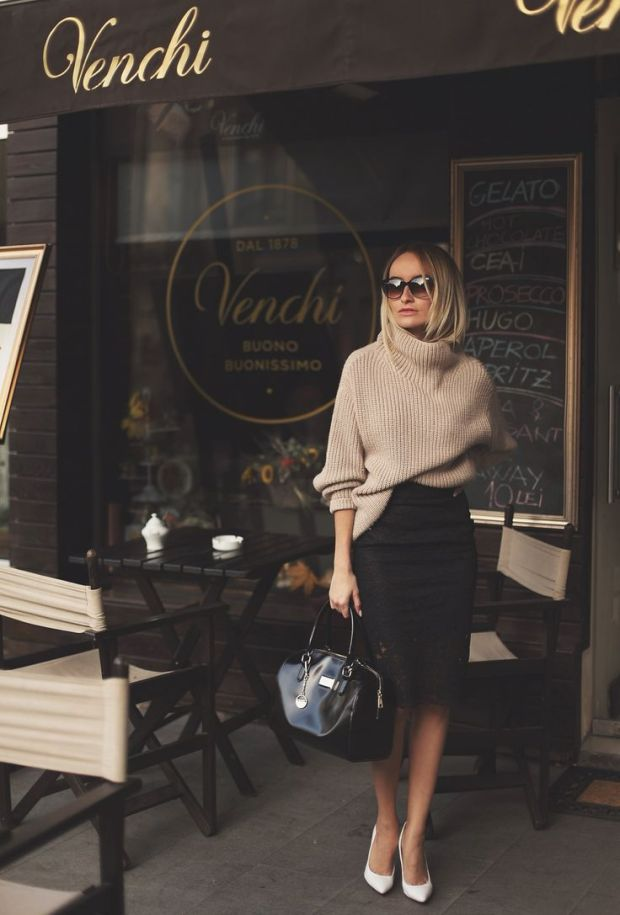 Camel Sweater and Black Pencil Skirt